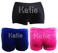 PERSONALISED GYMNASTICS LEOTARD DANCE SHORTS all sizes/colours in stretch velvet