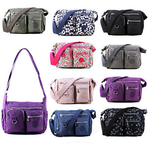 Womens Large Cross Body Bag Ladies Casual Multi Pocket Nylon Shoulder Messenger