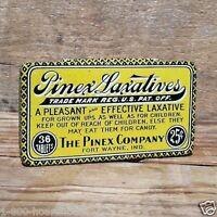 Original PINEX LAXATIVES MEDICAL RX TINS Empty Pharmacy Medicine Tin 1900s NOS
