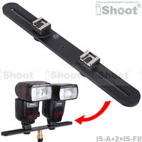 "Metal Camera Holder/Flash Bracket with 2*1/4"" Screw+2*Hot Shoe Mount Adapter"