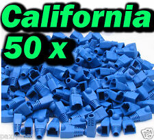 Lot 50 Blue RJ45 Connector Cat5 Modular End Cap Boot Head Plug Cat6 Cable 5E
