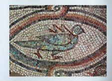 Ancient Mosaiques - Beribboned Dove, VIth 34x47cm vintage rare religious print