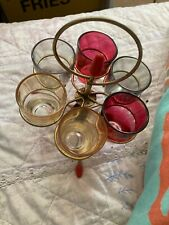 More details for vintage shot glass set & holder - textured glass - 1960's - mid century