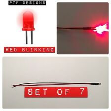 7 RED BLINKING LED SET, 9-12 Volts Pre Wired 3mm DC , Lighting For Layouts, USA