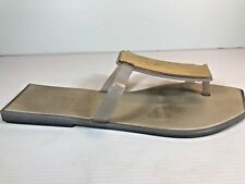 MELISSA SZ 41/42 EU WHITE WITH GOLD PANEL SLIP ON TOE THONG SANDALS VEGAN