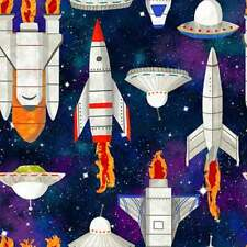 Lost in Space Ship Rocket Ship Fabric 100% Quilters Cotton