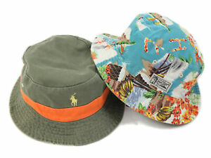 Polo Ralph Lauren Reversible Bucket Hat Cap - Olive, Orange, Hula girl, Aloha