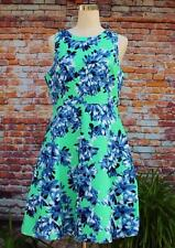 J. Crew Dress Size 10 Floral Fit & Flare BRIGHT Green Blue White Multi NWOT