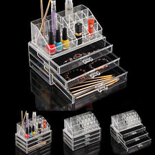 Clear Acrylic Makeup Cosmetics Organiser Grid Drawers Display Case 3 Storage Box