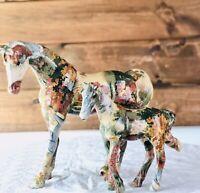 La Vie Set Horse & Foal Figurine Patchwork Collectable Art Decor Farmhouse