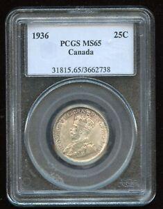 1936 Canada Twenty-Five Cents - PCGS MS65 - Superb Toning! - Trends $1250 - Sale