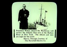 3 Magic Lantern Slides President Wilson Mayflower Atlantic Fleet US Navy NY 1915