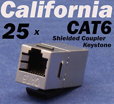 25 X pcs Lot CAT6 Shielded Inline RJ45 Keystone Wall Coupler Jack Adapter 8P8C E