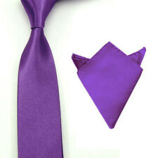 Mens Plain Satin Solid Smooth Necktie Tie Hanky Pocket Square Handkerchief Set