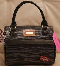 NEW Betsey Johnson LunchTote Insulated Bag leather BLACK ZEBRA LIPS SPEEDY ZEBRA