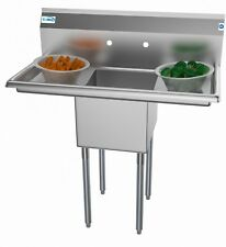 1 Compartment Stainless Steel Nsf Commercial Kitchen Prep Utility Sink With 38