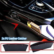 2XCar Seat Slit Pocket 2Pcs Black Catch Catcher Storage Organizer Box PU Leather