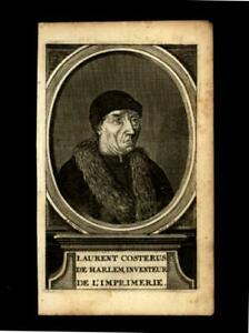 Lawrence Coster of Haarlem 1620 inventor of the printing press portrait print