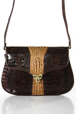 Designer Brown Crocodile Skin Shoulder Handbag Size Small