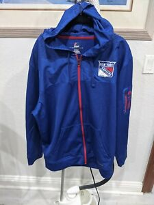 Majestic Blue NHL NY Rangers Zip Up Jacket Sweatshirt w/ hood Sz XL NWOT