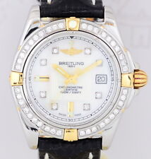 Breitling Lady Galactic Stahl Gold Diamond MOP Dial Luxus B+P