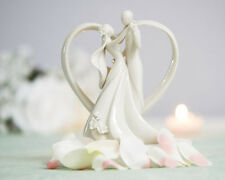 Stylized Heart Frame Bride and Groom Figurine White Wedding Cake Topper (707515)