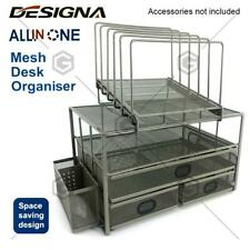 All in one mesh desk Tray Organiser Saving Space Pen Holder Containe File shelf