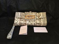 JIMMY CHOO Tulita Snakeskin Cream Black Metallic Gold Clutch Wristlet Strap Bag