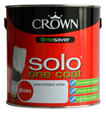 Crown Solo One Coat Gloss Pure Brilliant White Wood & Metal Paint 2.5L Oil Based