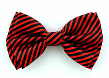 Red Black Pinstriped Mens Butterfly Style Bow Tie Adjustable Neck Fashion New