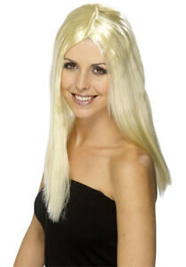 Ladies Long Length 44cm Long Blonde Straight Synthetic Fancy Dress Character Wig