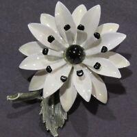 """CUTE 1960's Vintage Enamel Flower Power Brooch Metal White Black Gray 2"""""""