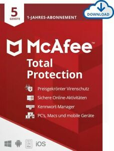 McAfee Total Protection Security 5 PC 1 Jahr Mac Android