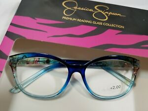 NEW 2.00 Jessica Simpson Cat Eye READING GLASSES Blue Floral Readers
