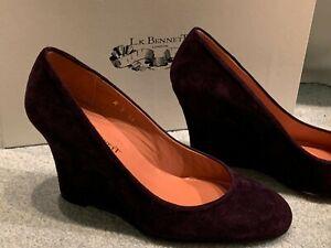 L K Bennett Purple Suede Adiba Wedge Heel Shoes UK 3 BNWB RRP £119