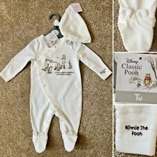 Tu Classic WINNIE THE POOH Cotton Sleepsuit & Hat - Up to 1 Month (10lbs) -NEW!