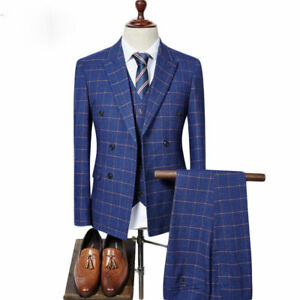 Men's Blue Double Breasted Suit Plaid Vintage Tuxedos Groom Prom Wedding Suit