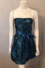 Stunning Cache Blue Ribbon Embroidered Strapless Bubble Hem Dress Size 4