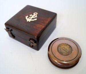 Brass Compass Wooden Box Case Stanley London Hiking Navigation Pocket Compass