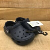 Crocs Unisex Kids Mules Clogs Shoes Blue Rubber Slip On Perforated 27-28 C10 New