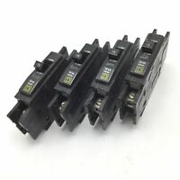 Lot of 4 Square D QOU Circuit Breakers, 1-Pole, Rating: 15A 120/240VAC