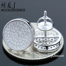 MEN 925 STERLING SILVER 12MM ICY DIAMOND BLING ROUND SILVER STUD EARRING*AE111