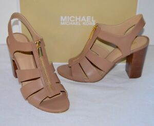 New $120 Michael Kors Damita Cashew Brown Leather Sandal Block Heel Gold Zip