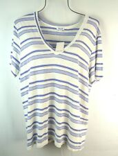 Splendid Everly White Blue Short Sleeve Medium Pullover V-Neck T-Shirt Top NWT
