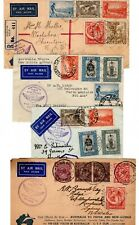 1934 Australia to Papua / Return First Flight Covers x 4 / Frankings.