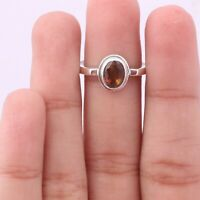 Tourmaline Solitaire Ring Size 8 925 Solid Sterling Silver Handmade Jewelry