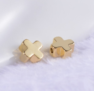 Free Ship 100pcs Cross Star Beads Gold plated spacer Beads Jewerly Accessories