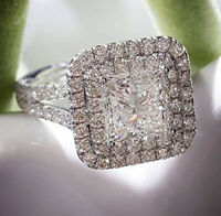 GIA 14K 1.90 Ct Dual Halo Micro Pave Princess Cut Diamond Engagement Ring H, SI1