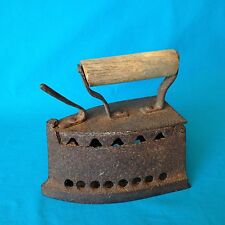Antique 1800s Russian Cast Metal Charcoal Sad Laundry Clothes Iron Wood Handle