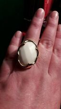 Veronese White Agate Gold Plated Sterling Ring Size P